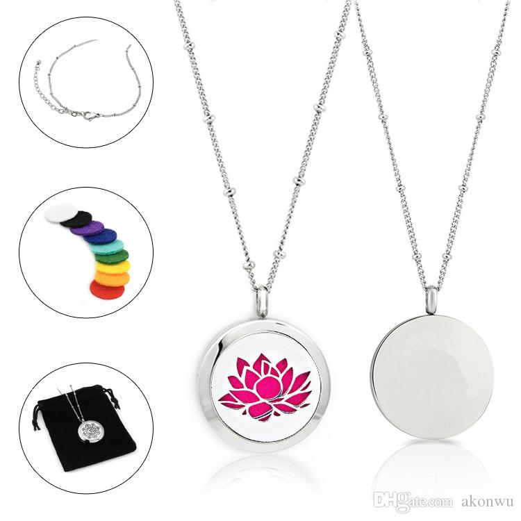 New Arrival Free felt pads and chain! 25mm double heart stainless steel aroma necklace plant pattern essential oil diffuser locket pendant