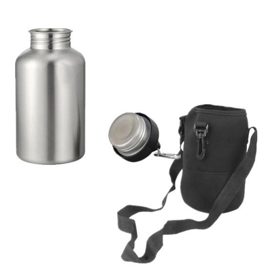 Hot New Stainless Steel 1 Set Sports Drink Water Bottle With 2l Hook Protector Bag