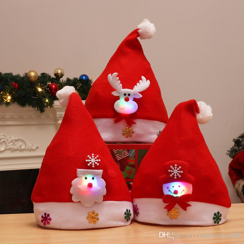 Wholesale Kids Red Christmas Led Hats Light Winter Warm Cute Pompon Boys Girls Santa Claus Hats Children Hats Caps Christmas Ornaments