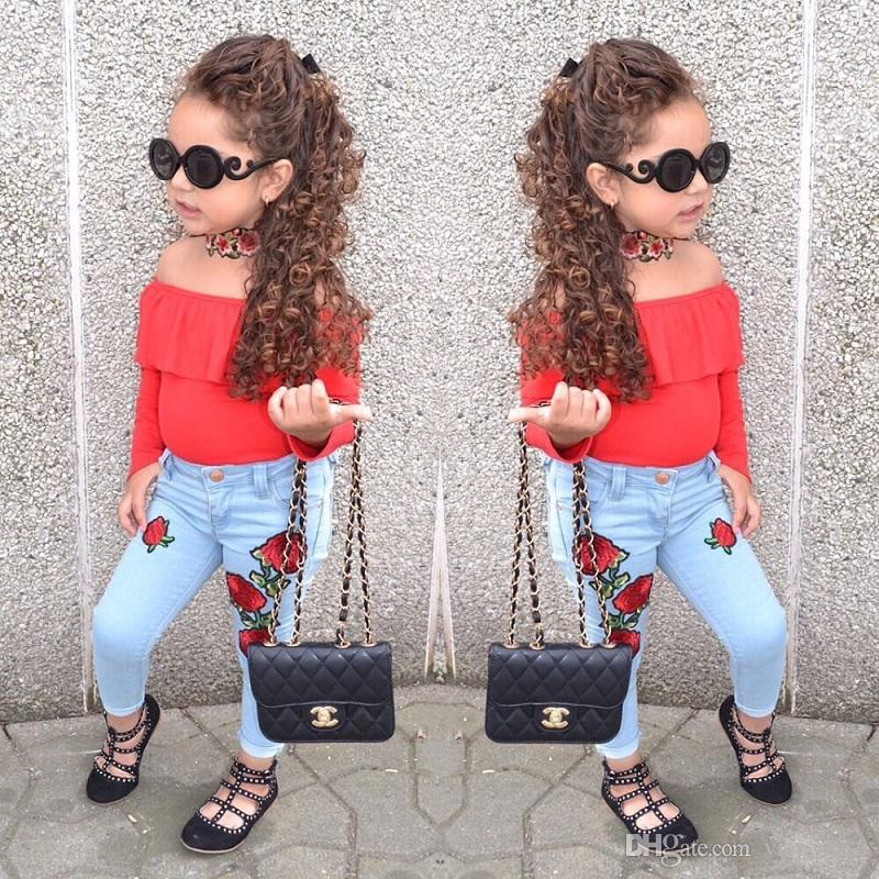 Vieeoease девушки наборы Детская одежда 2018 осень с длинным рукавом футболка + отверстие джинсы брюки Детская одежда 2 шт. EE-1036