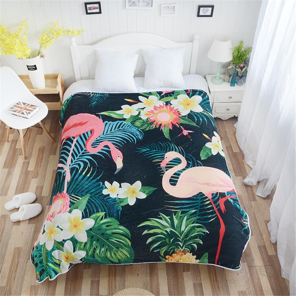 Cilected Flamingo Pattern Plush Throw Coperte Biancheria da letto tropicale Plant Flanella Fleece Coperta Copridivano Copridivano