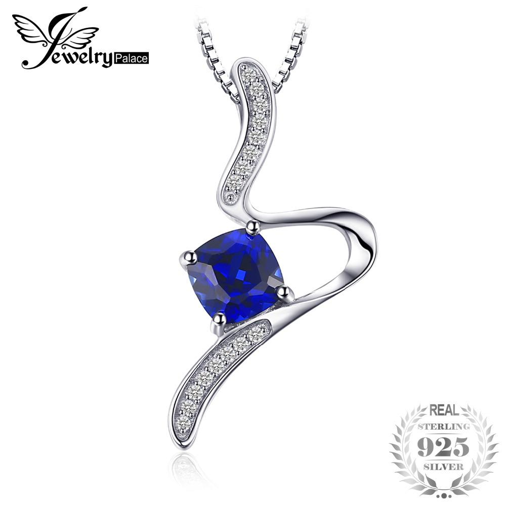 JewelryPalace Stylish 1.4ct Cushion Created Sapphire Pendant Necklace For Woman Pure 925 Sterling Silver Jewelry 45cm Box ChainY1882503