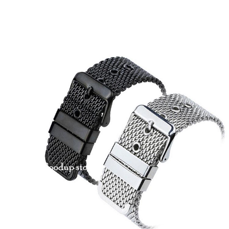 18mm 20mm 22 mm siatka druciana blet stalowy pasek stały pasek siatkowy splot pasek klamra zegarek akcesoria czarny / stal