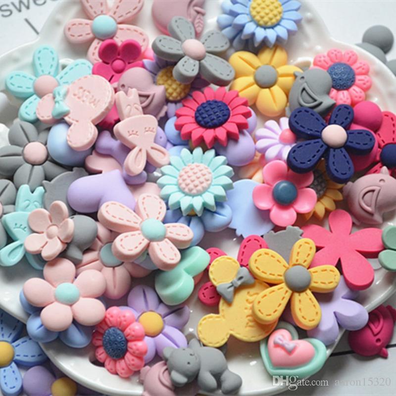 200pcs/lot Mix Lots Resin Flatback Button Flower Bow Art Album Flatback Scrapbooking Embellishments Diy Scrapbooking Craft Accessory