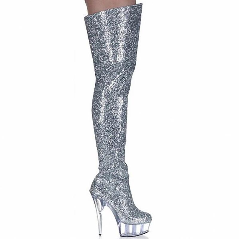 Boots Women Shoes High Heels Thigh Boots Fashion Glitter Over Knee Fenty Beauty Gothic Shoes Ladies Nightclub