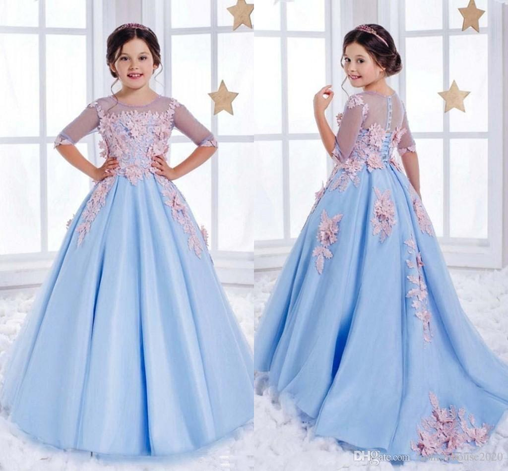 Hot 2018 Flower Girls Dresses Sky Blue Lace Illusion 3D Floral Applique Half Sleeves Kids Girls Pageant Dress Ball Gown Cheap Birthday Gowns