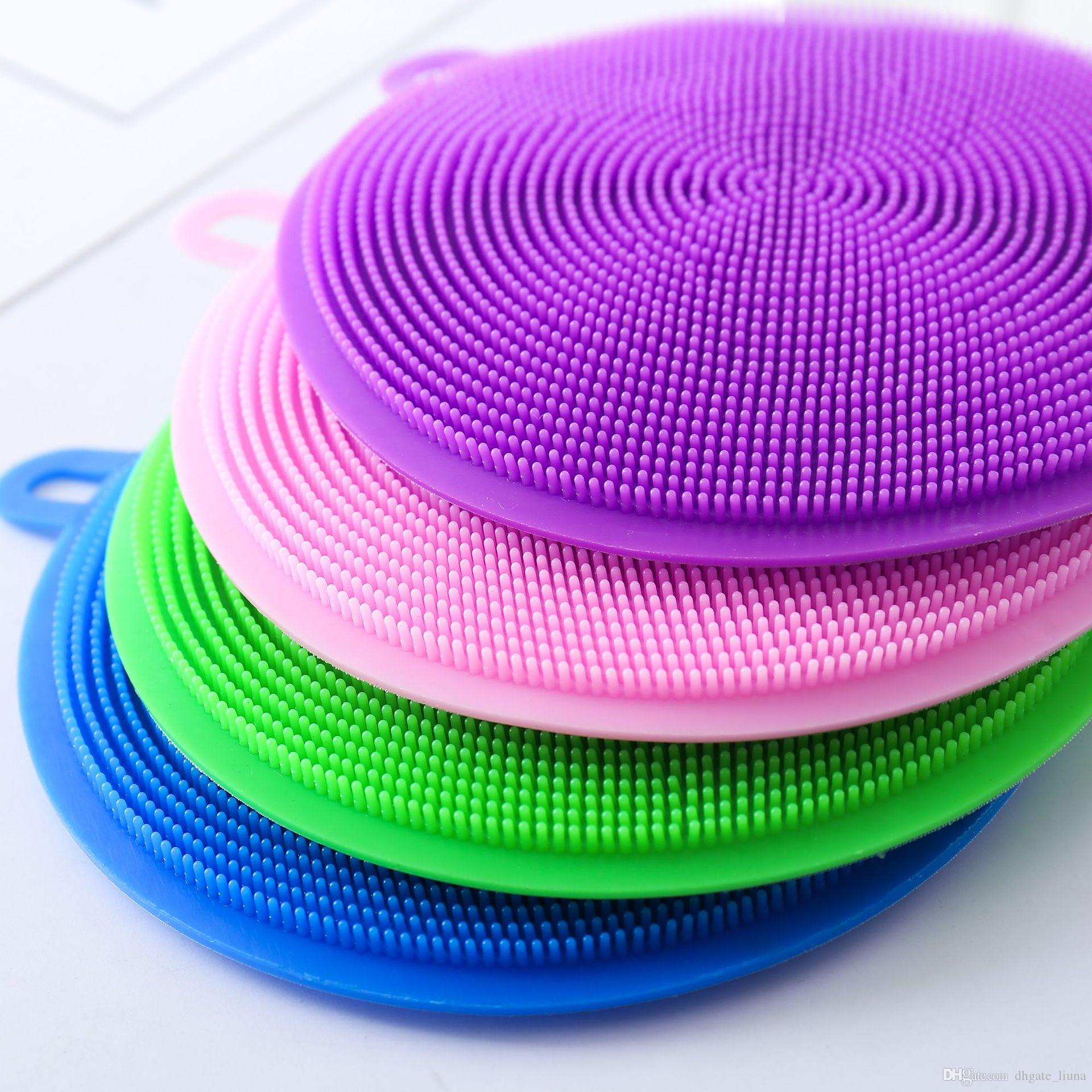 Cepillo de Gel de sílice Cepillos de Lavado Universal Hot Multiusos Antibacterial Silicona Smart Sponge Cleaning Dish Herramientas de Cocina