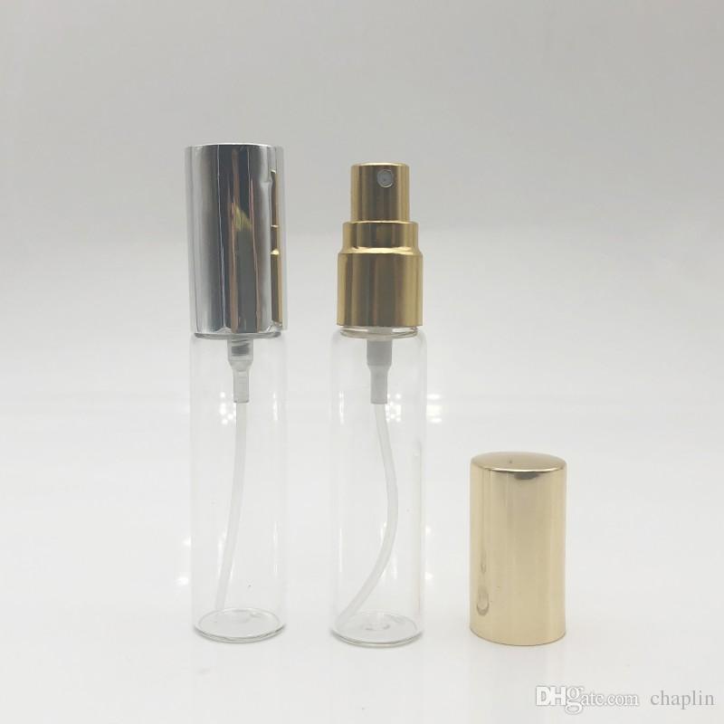 10mlmini trasparente bottiglia di profumo spray bottiglia viaggio riutilizzabile vuoto cosmetico acqua atomizzatore bottiglie di vetro spruzzatore pompa bottiglie oro / argento
