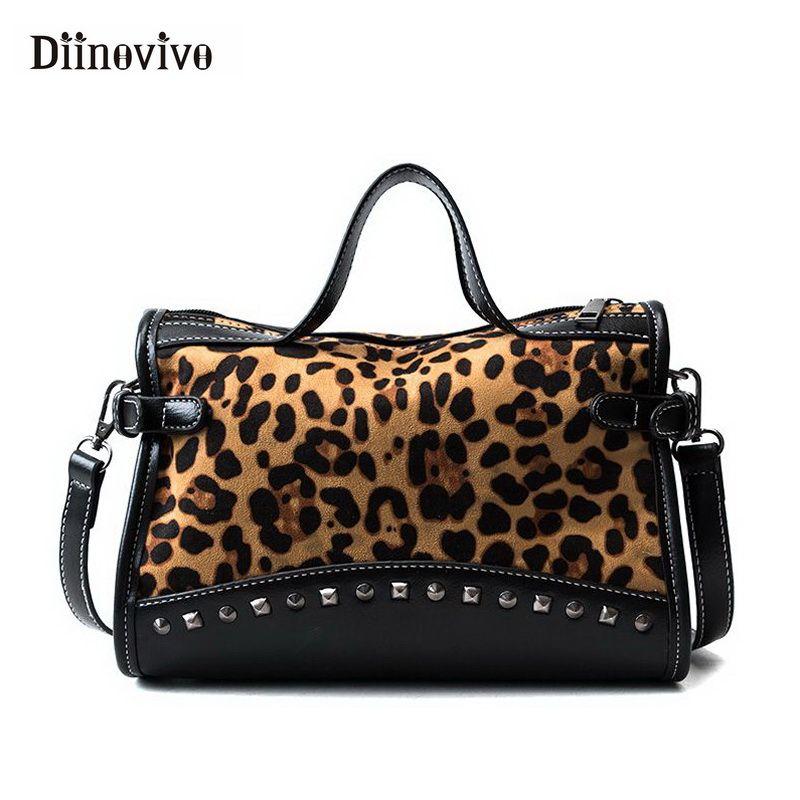 DIINOVIVO 2018 새로운 레오파드 여성 핸드백 패션 리벳 여성의 큰 가방 빈티지 토트 숙녀 핸드 가방 WHDV0835