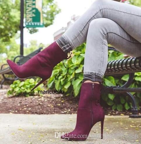Concise Design Chic Burgundy Suede Stiletto Heels Ankle Boots Sexy Women Pointed Toe Cut-out booties Back Zip Sandal Booties Pretty Shoes