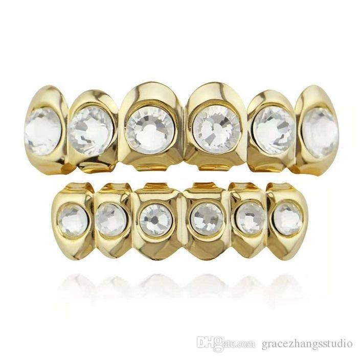 hip hop big diamond grillz plaqué or véritable grils dentaires rappeur bijoux de corps deux couleurs or argent un diamant par dent livraison gratuite