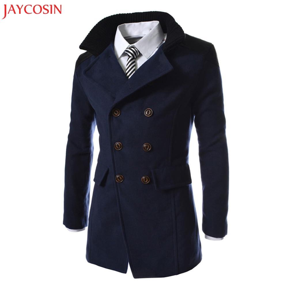 JAYCOSIN Men Jacket inverno quente Polyester Trench longa Outwear retalhos de abertura de cama Smart Button Overcoat cinza, preto, z1105 Marinha