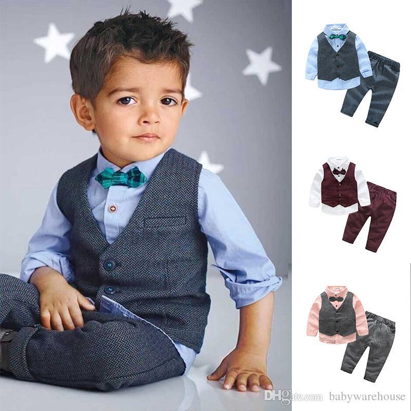 Mode Enfants Vêtements Bébé Garçon Vêtements Ensembles Printemps Automne Gentleman Costume Toddler Garçons Vêtements À Manches Longues Chemise Gilet Pantalon Enfants Vêtements