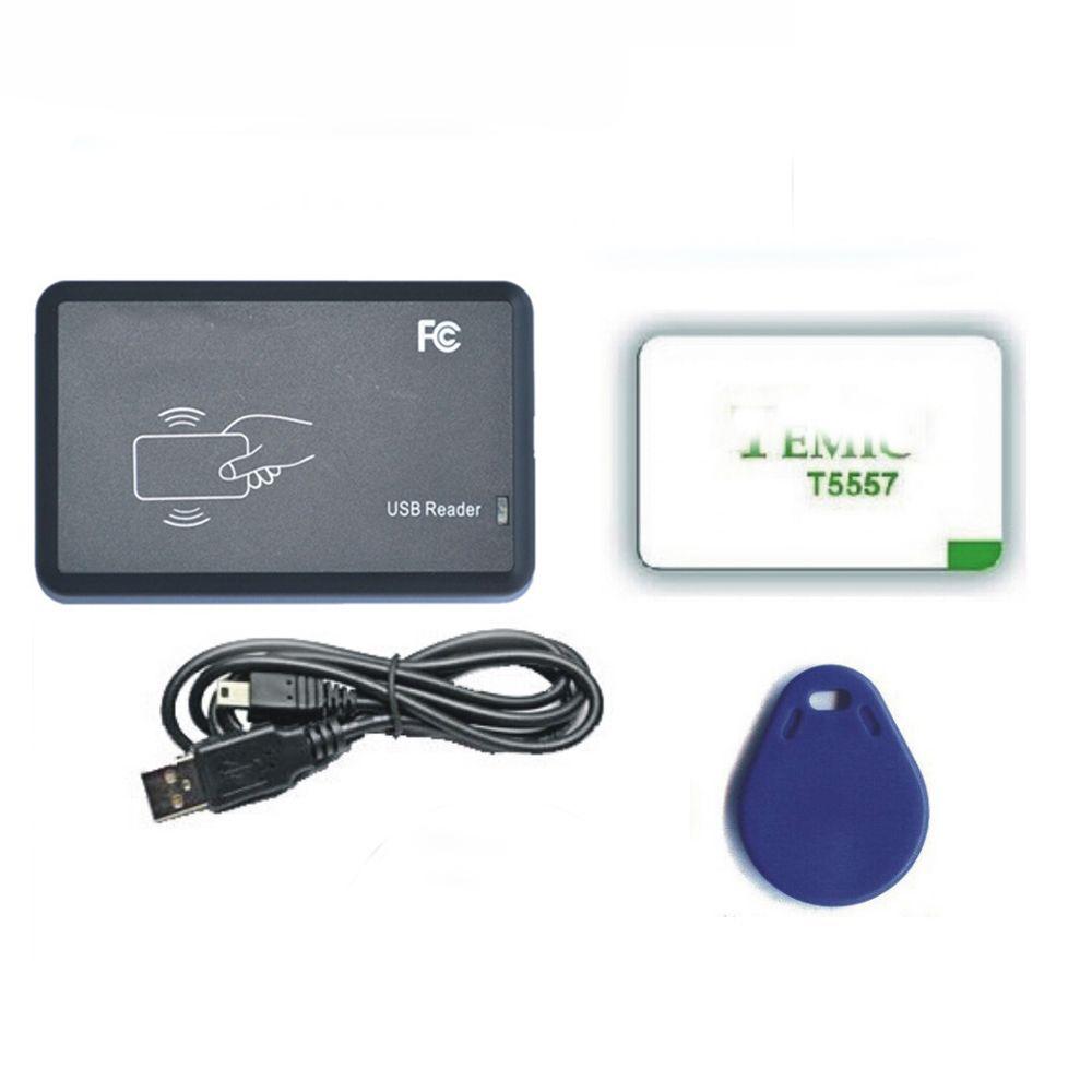 شحن مجاني newset easyer تجنب القيادة 125 كيلو هرتز T5577 / EM4305 بطاقة التحكم في الوصول قارئ الكاتب rfid ناسخة منفذ usb + 10 قطع بطاقات