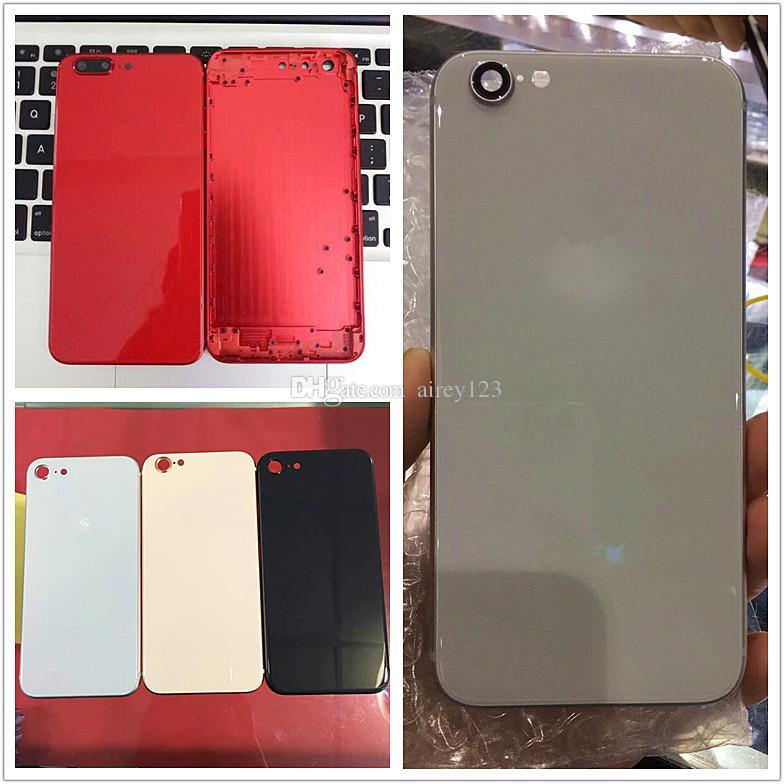 For iPhone 6 6S 7 Plus Back Housing to iPhone 8 Style Metal Glass Full Red Rear Cover with Side Keys Like 8+