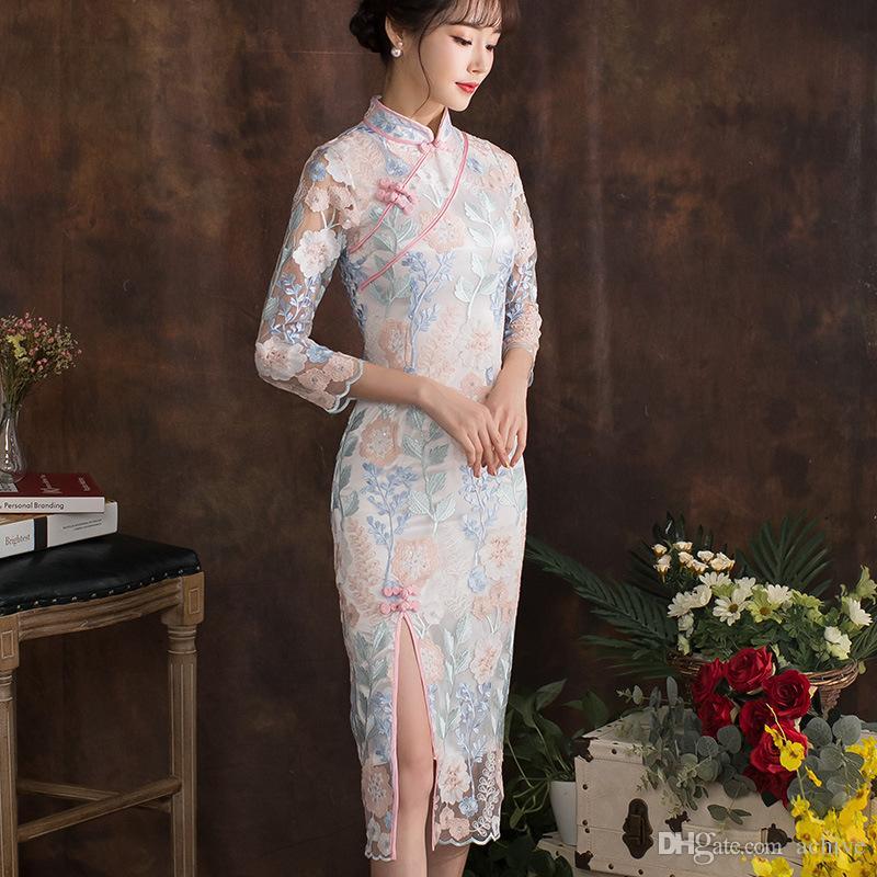 여성을위한 3/4 긴 소매 정장 가운 드레스와 뜨거운 판매 여름 전통 레이스 중국어 치파오 롱 스타일 QiPao 2020