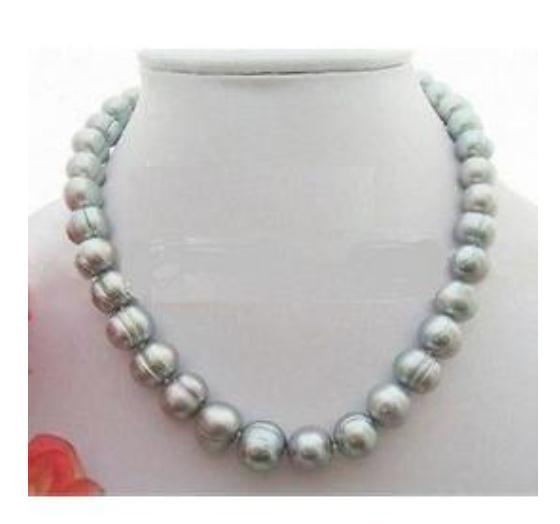 11-13mm Südsee Grau Barock Perlenkette 18 Zoll Perlenketten