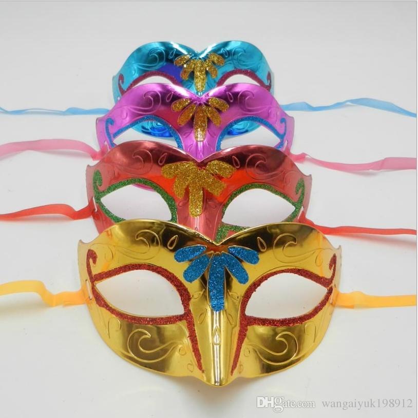 Pintado plateado mitad cara cabeza plana zorro mascarada dama sexy polvo de oro máscara máscara princesa máscara