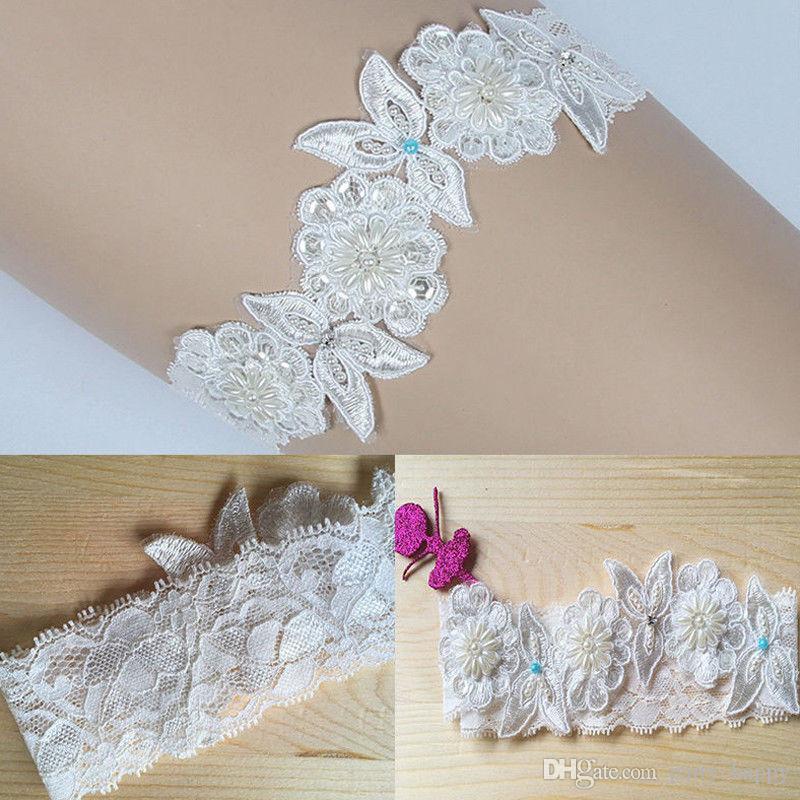 Подвязка Роскошного Шнурка Bridal, Что-То Голубая Перла, Цветок Отбортовала Невесту Венчания