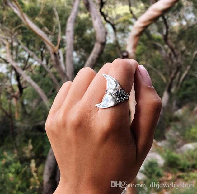 Boho Mermaid Ring Women Vintage Silver Fish Tail Midi Rings Beach Whale Knuckle Ring Jewelry