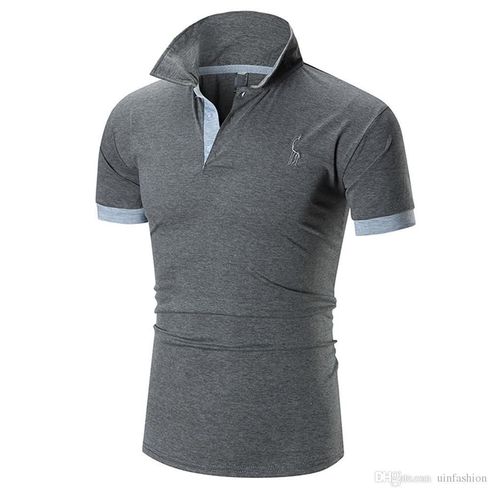 Color Polo New Men Abbigliamento Abbigliamento Cotton Traspirante breve Deer Stampa Design Manicotti solidi Tees Moda Brand Top Maschi Maglioni FSUWJ