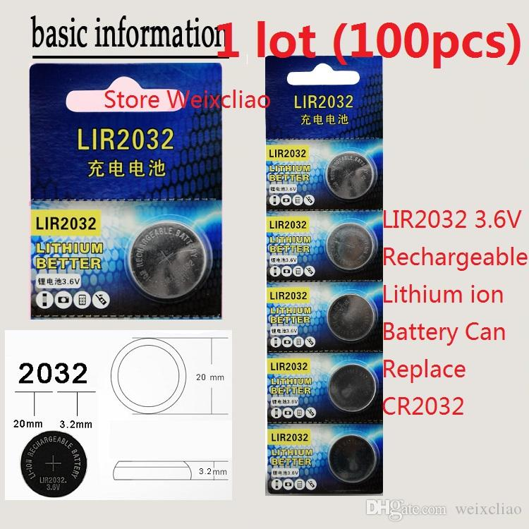 100pcs 1 lot LIR2032 3.6V Lithium li ion rechargeable button cell battery 2032 3.6 Volt li-ion coin batteries CR2032 card Free Shipping