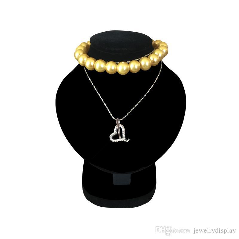 Mini Jewelry Display Bust White PU Pendant Holder Black Velvet Mannequin Necklace Rack Stand Wooden Pendant Portrait Model 11.5cm