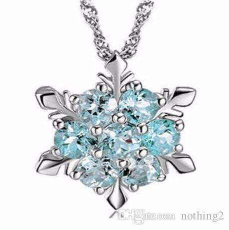 Schmuck Charm Vintage Dame Halskette Frauen Schneeflocke-Blumen-Form Blue Zircon versilbert Anhänger Halsketten Fashion Jewelry