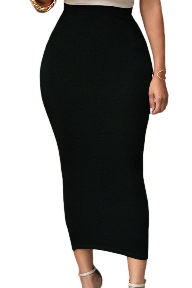 Al por mayor-Mujeres de la vendimia de cintura alta faldas midi del otoño del lápiz falda de la oficina de la señora Bodycon falda maxi Saias Femininas moda 2017