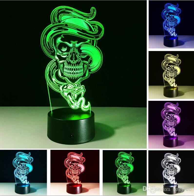 새로운 해골 도미 네링 드래곤 고스트 7 색 변화 분위기 환상 야간 조명 테이블 테이블 침실 인테리어 어린이 어린이 아기 장난감 선물