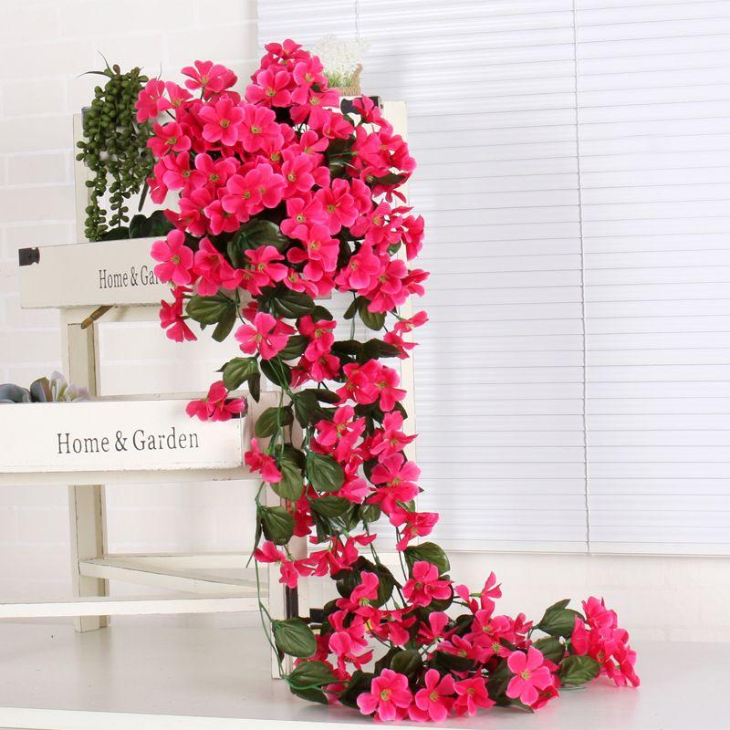Фиолетовый искусственный цветок декор моделирование свадьба стены висит корзина цветок винограда орхидеи Шелковый цветок ротанга открытый коридор DIY
