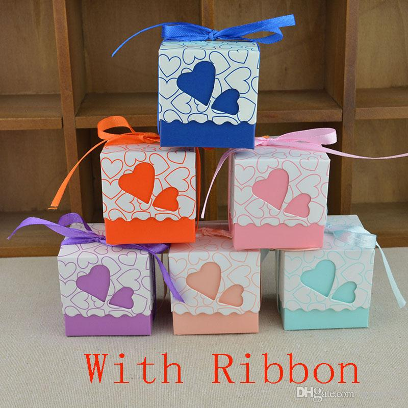 Bonbons Boîtes Pour Le Mariage Anniversaire Fête Festival Double Creux Amour Coeur Laser Cut Wrap Cadeau Papier Boîte Cas Avec Ruban De Noël HH7-1352