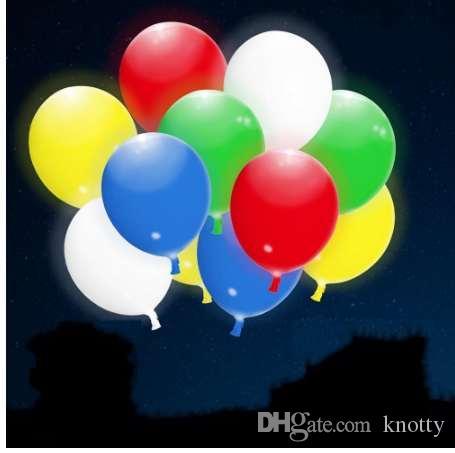 100шт 12-дюймовый смешанные цветные светодиодные воздушные шары с мигающим светом на день рождения / юбилей / свадьба / фестиваль украшения