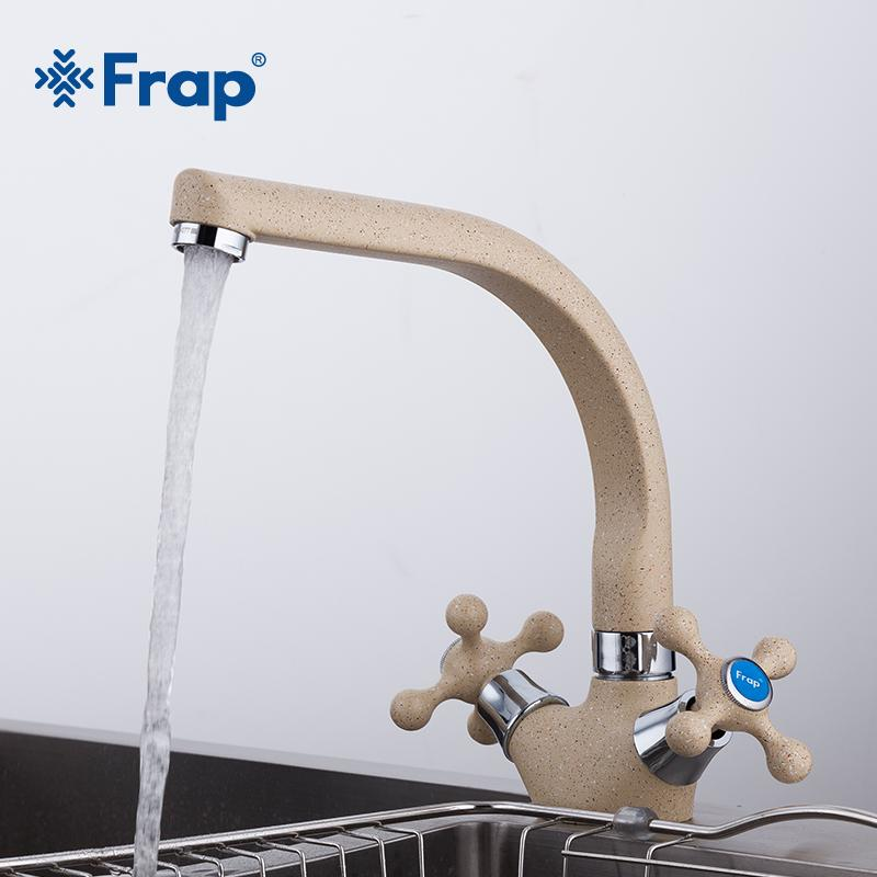 wholesale NEW Multicolor Spray painting Kitchen sink Faucet Cold and Hot Water Mixer Tap Double Handle 360 Rotation F5408-7/8/10/21