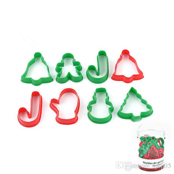24PCS Christmas Style Biscuit Pastry Cookie Cutter Mould Food Grade PP Xmas Tree Letters Shape Biscuit Cutter Molds DIY Dessert Tools