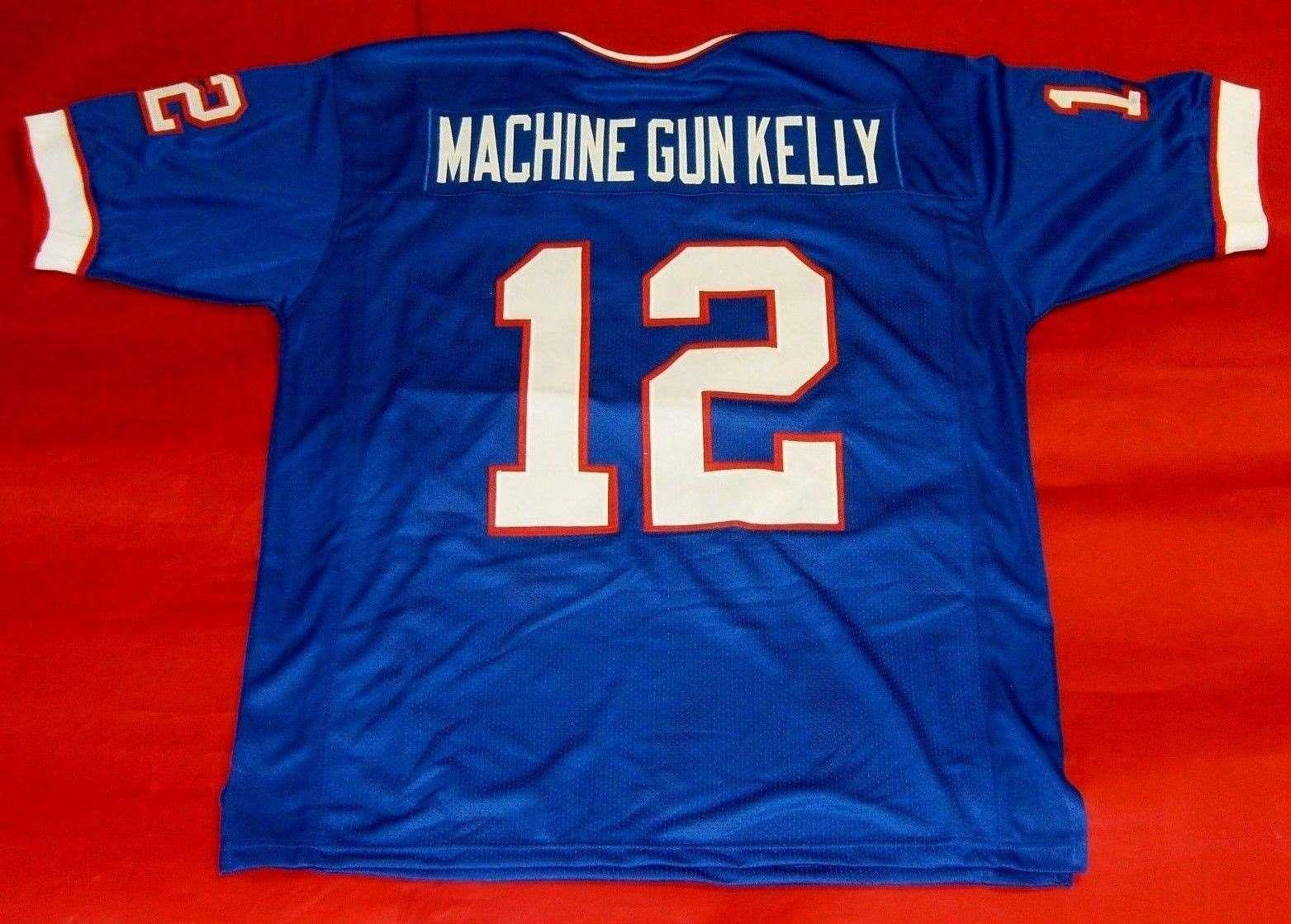 Cheap retro #12 JIM KELLY CUSTOM MITCHELL & NESS Jersey MACHINE GUN KELLY bule Mens Stitching Top S-5XL,6XL Football Jerseys Running