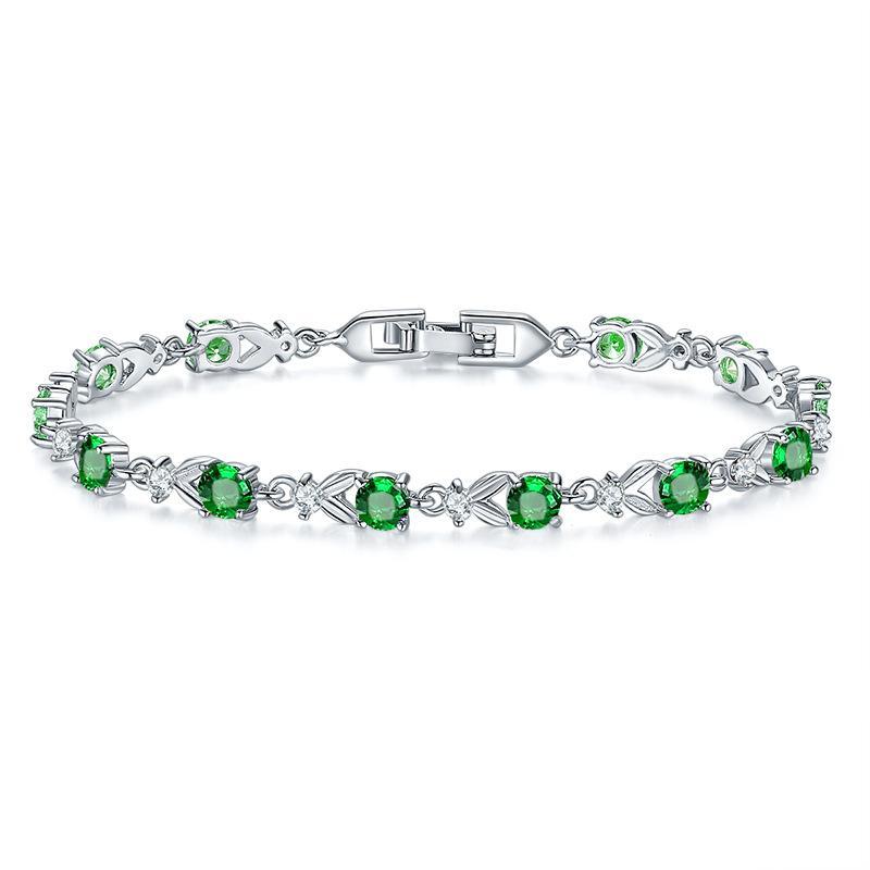 Gotas de agua Verde Natural Cubic Zirconia Blanco CZ 925 Joyería de Plata Esterlina Charm Bracelet Regalos de Navidad Para Mujeres