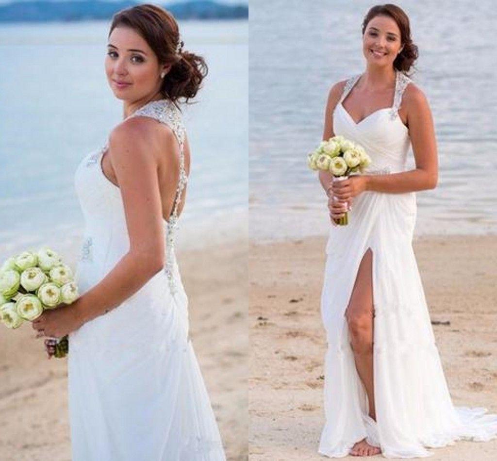 Großhandel Sexy Strand Brautkleider Sommer Stil Weiß Chiffon V Ausschnitt  Lang Split Strand Split Front / Side Wischen Lange Abschnitt Brautkleider