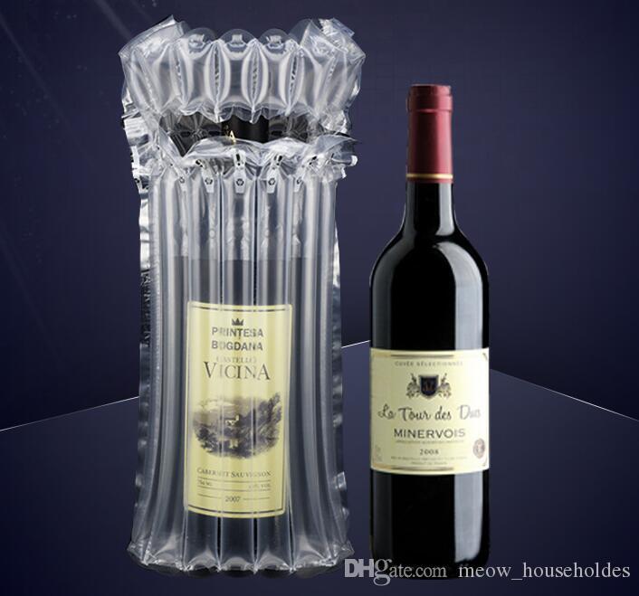 Columna de aire bolsa de vino inflable Cojín de aire burbuja de vidrio bolsa protegida Bolsa protectora de burbujas de vino inflable protectora para botella