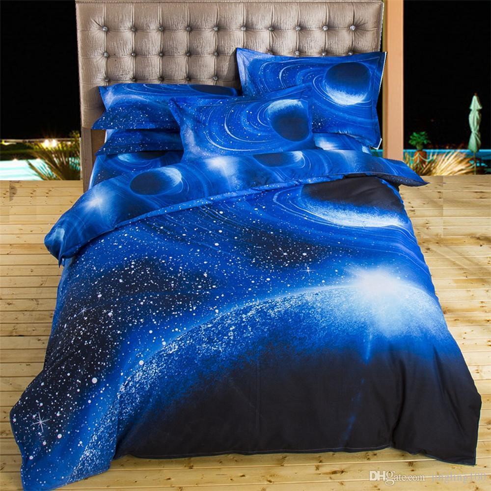 놀라운 3D 4 조각 블루 갤럭시와 빨간 장미 디자인 침구 세트 100 % 코튼 이불 Duvet 커버 Fitted Sheet Pillow Cases 홈 섬유