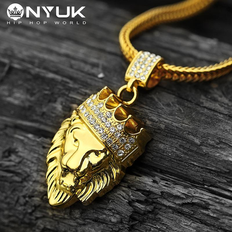 Charms Lion Head Crown King Pendants Necklaces Iced Out Golden Women Men Hip Hop Bling Chains Rock Jewelry Gift