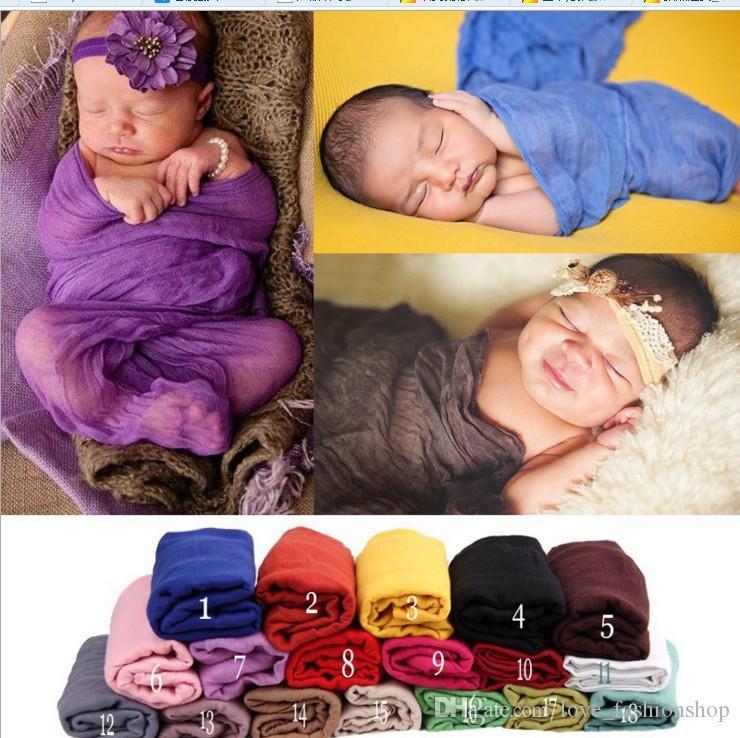 18 colori bambino pianura fotografia puntelli coperte neonato lungo leggero strechy avvolgere fasce avvolgenti puntelli foto coperta biancheria da letto nursery