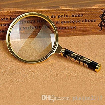 80mm Handheld 5X Loupe Magnifier Magnifying Glass Lens Perfect Viewing Small New -Gold