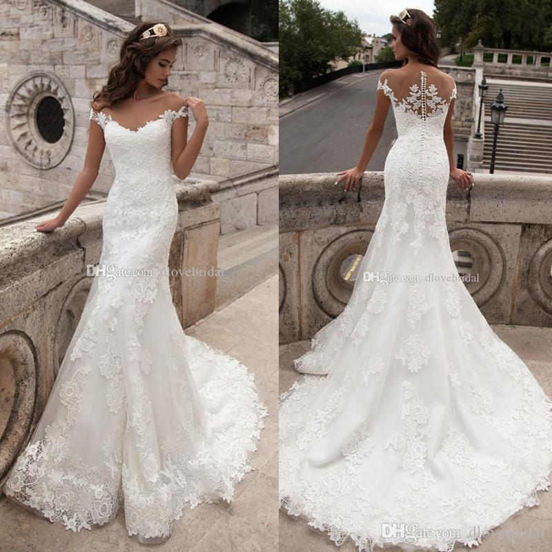 Stunning Illusion Lace Wedding Dress High Quality Cap Sleeveless Mermaid Bridal Wedding Gown Vestido De Noiva with Covered Button Back