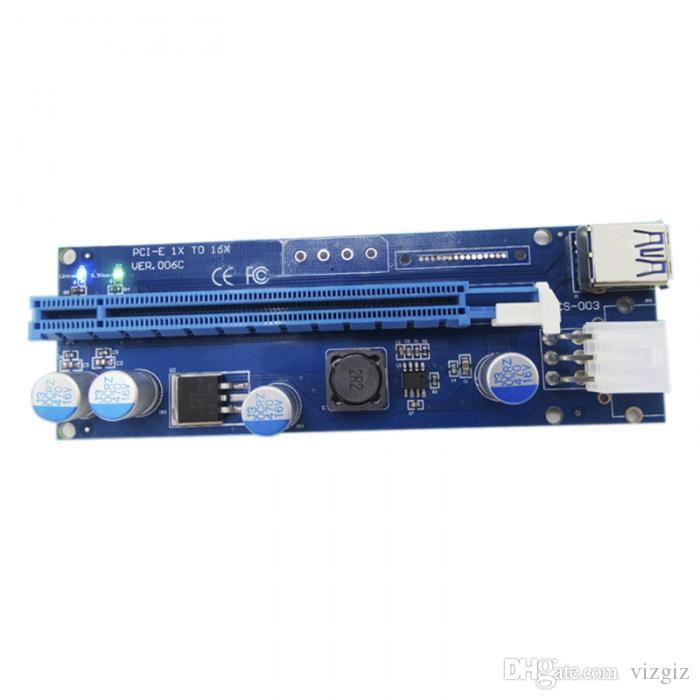 PCI-E Express 1X To 16X Extender Riser Card Adapter USB 3.0 SATA 60CM 6-Pin Power Line Cables For BTC Miner Machine QJY9