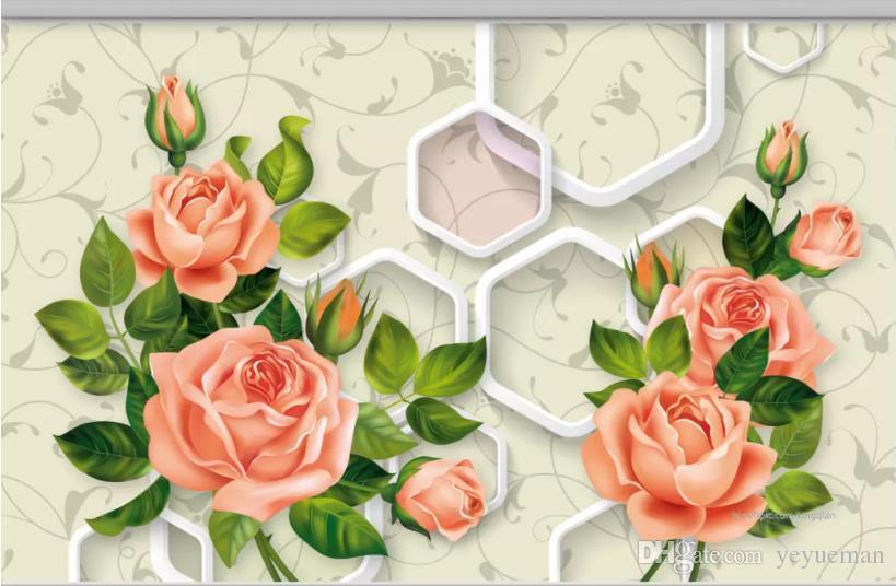 Niestandardowy 3d tapety dźwiękoszczelny złoty kwiat salon Zdjęcie 3d tapety tapety tapety na ściany 3 d