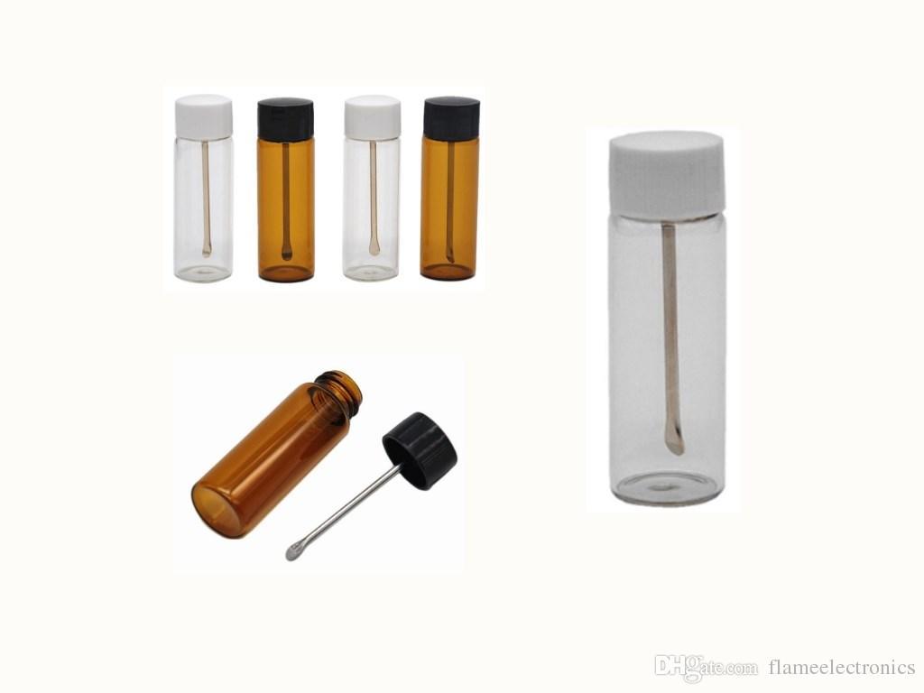 Пуля хранения бутылки ясно коричневое стекло нюхательный табак бутылка с металлической ложкой специй Снортер коробка коробка пилюль смешанные цвета