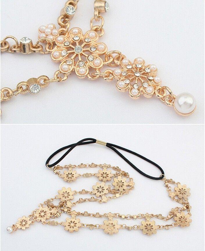 Vintage Head Chain Headband Hair band Hair Jewelry Flower Tassel Forehead Headpiece Hair Chains For Women