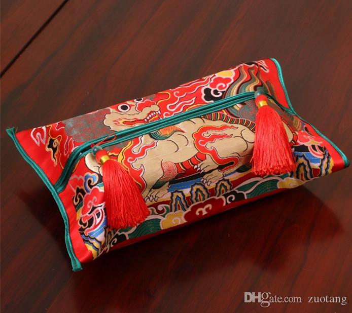Роскошный китайский утолщаются шелковые ткани парчи крышка коробки высокого класса автомобиля домашнего декора дракон феникс Кирин кран съемный Kleenex крышка коробки