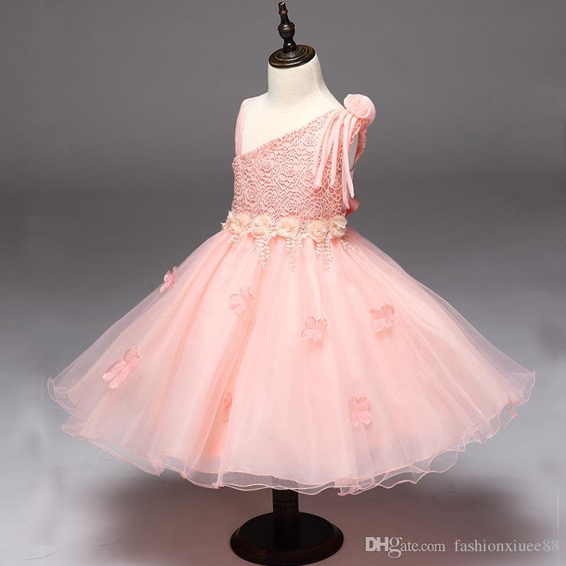 Pink flower girl dresses backless bow comunion dresses prom gowns vestidos de comunion age 3-9 years old